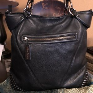 KENNETH COLE Pebbled Leather Studded Hobo